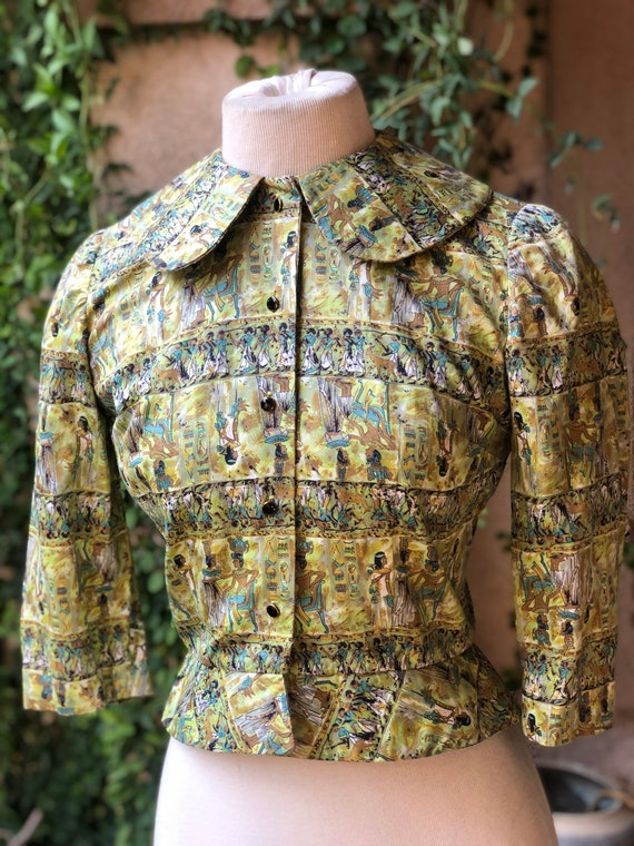 Vintage 1950's Egyptian Novelty Print Jacket