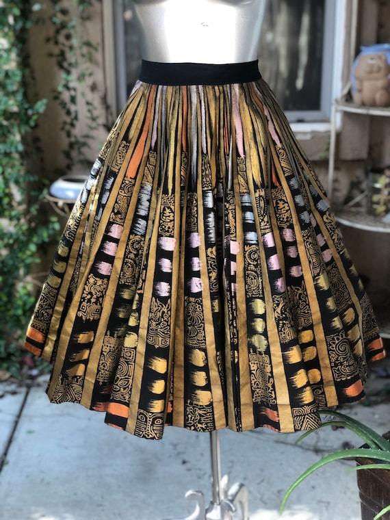 Vintage 1950's Hand-Painted Mexican Skirt Creacion