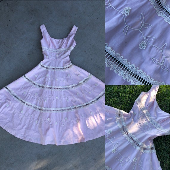 Vintage 1950's Pink Dress with Full Circle Skirt