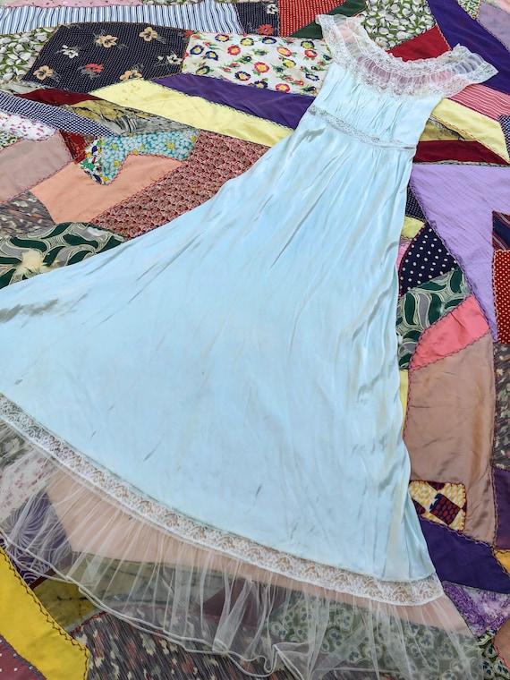 Vintage 1940's Rayon Bias Cut Nightgown
