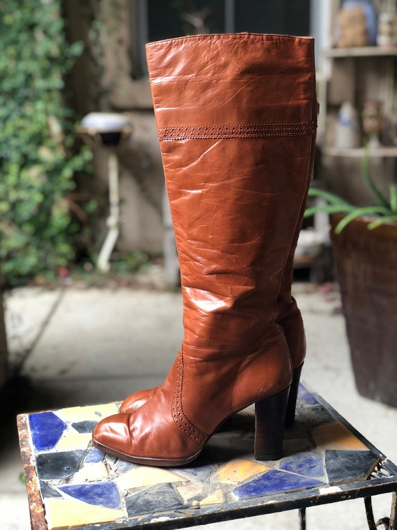 Vintage 1970's Brown Leather Knee High Boots 8.5