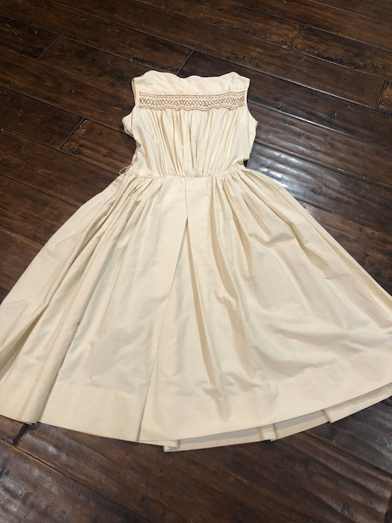 Vintage 1950's Cream Cotton Dress - image 8