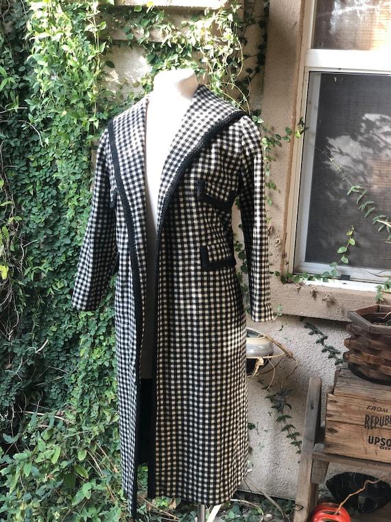 Vintage 1950's Black and White Wool Coat