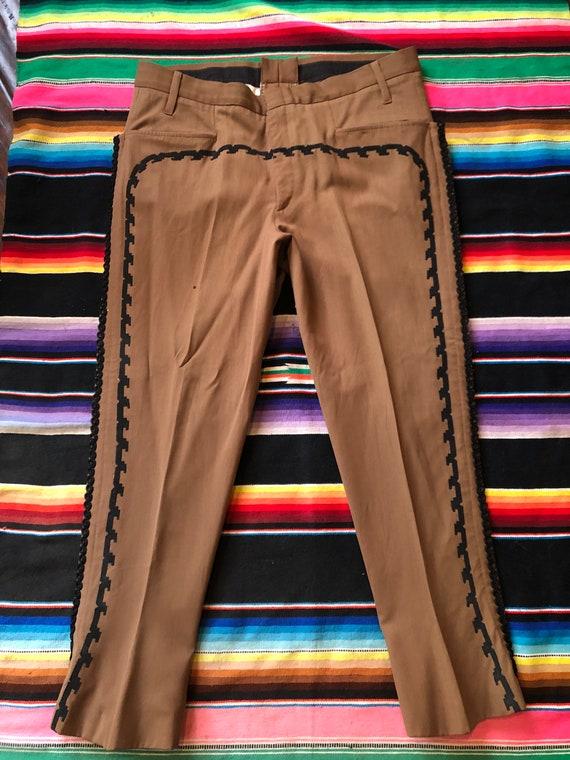 Vintage 1950's Brown Gabardine Mexican Charro Pant