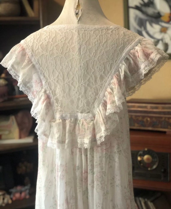 Vintage Semi-Sheer Floral Gunne Sax Dress - image 8