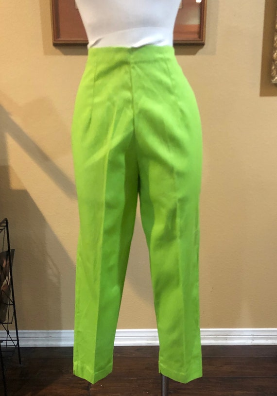 Vintage 1950's Green Barkcloth Cigarette Pants NOS