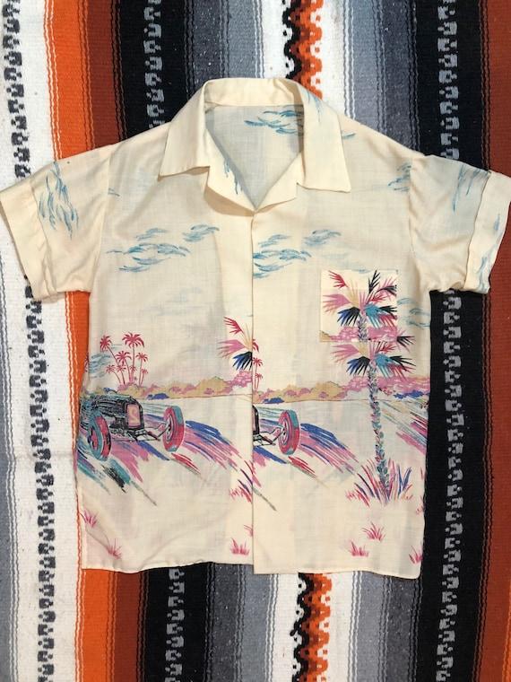 Vintage Novelty Car Print Cotton Shirt
