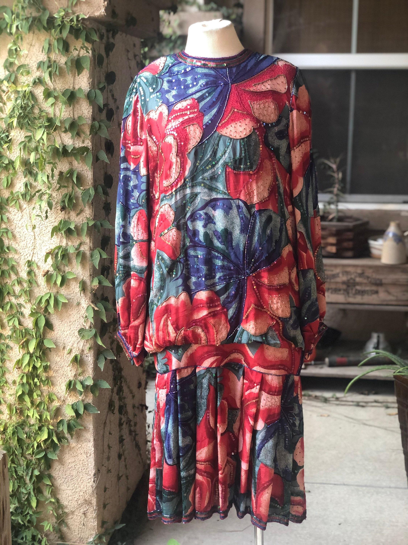 80s Dresses | Casual to Party Dresses Vintage Judith Ann Creations Silk Beaded Dress Art Nouveau Style $125.00 AT vintagedancer.com