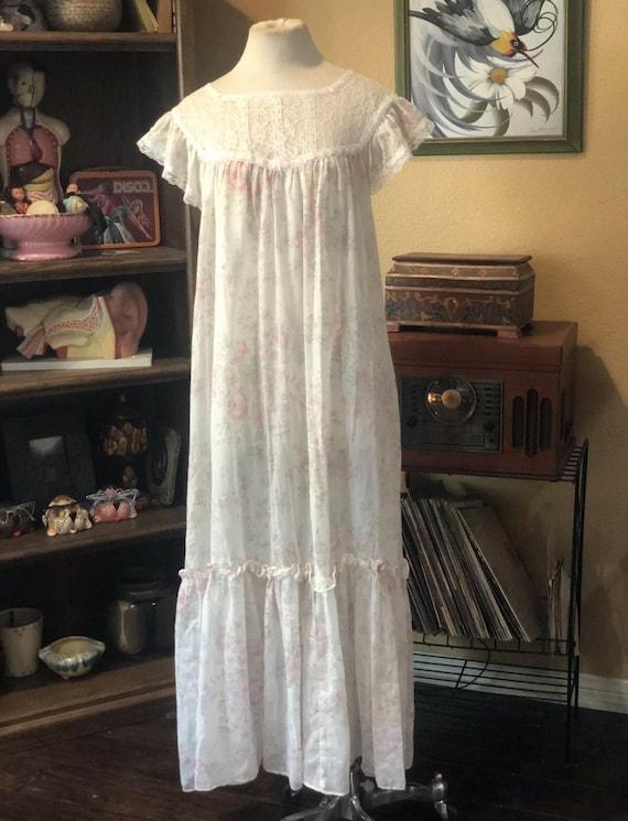 Vintage Semi-Sheer Floral Gunne Sax Dress - image 9