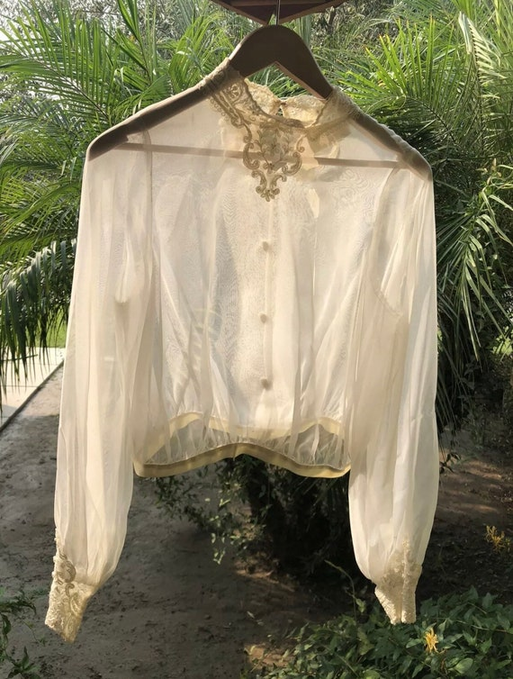 Vintage 1970's Sheer Edwardian Style Blouse