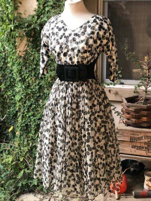 Vintage 1950's Black and White Polka Dotted Dress