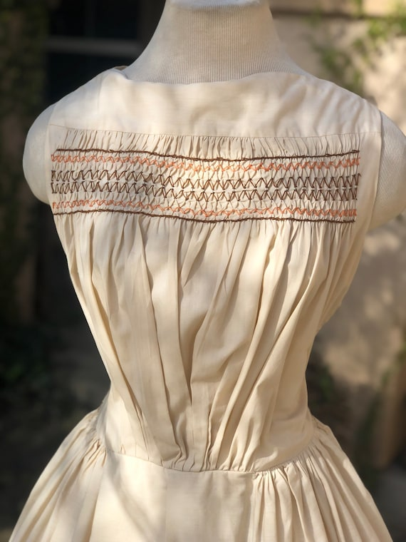 Vintage 1950's Cream Cotton Dress - image 4