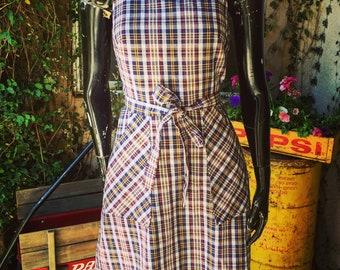 Vintage Plaid Wrap Dress 1960's