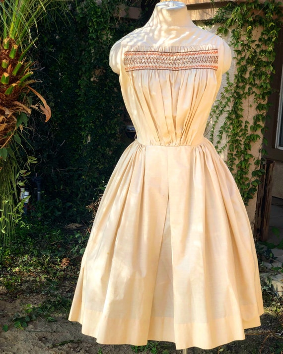 Vintage 1950's Cream Cotton Dress - image 1