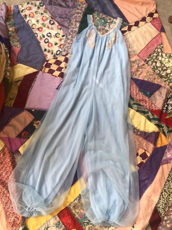 Vintage 1960's Powder Blue Pajamas Jumpsuit
