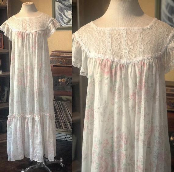 Vintage Semi-Sheer Floral Gunne Sax Dress - image 1