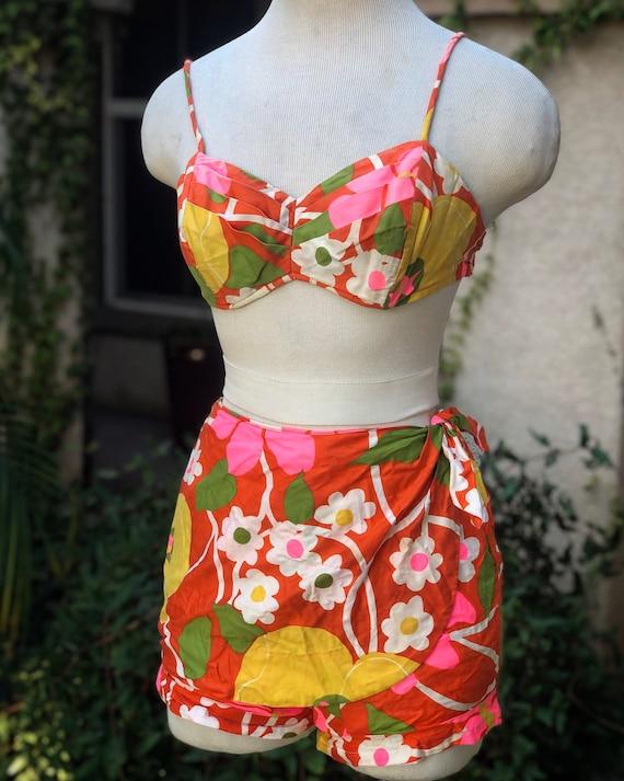 Vintage 1960's Cotton Floral Two Piece Swimsuit