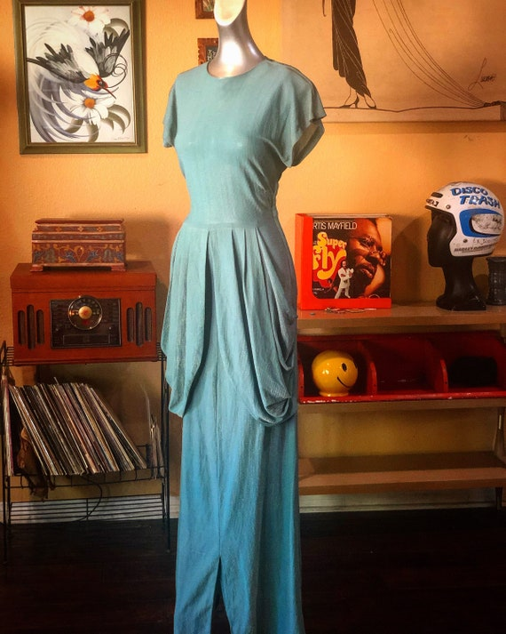 Vintage 1940's Gown with Silver Metallic Threading