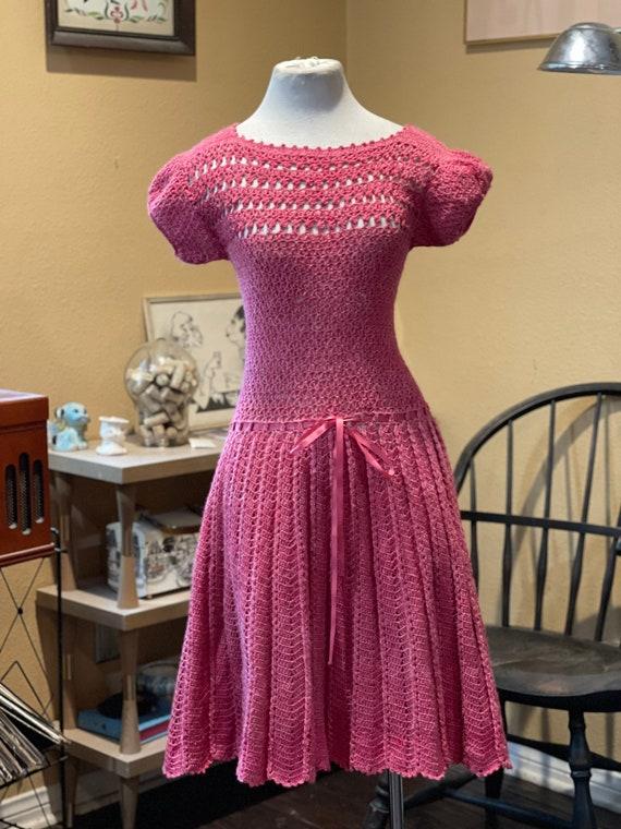Vintage 1950's Dusty Rose Crochet Dress