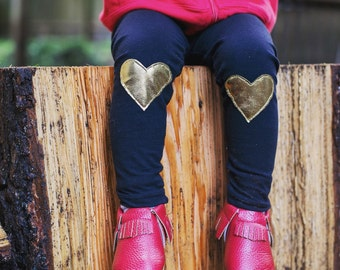 Gold Knee Heart Patch Leggings  - Baby leggings,  Toddler leggings, Valentine's Day gift,  Toddler pants,  Baby pants -  Baby Joggers