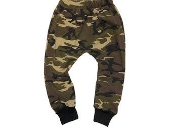 d74876cf381 Camo Harems - Army Baby Pants - Toddler Boy Harems - Baby Joggers - Boy  Bottoms - Harem Pants - Baby Harems