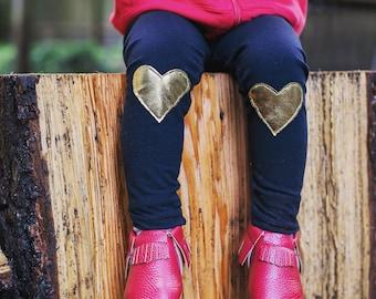 Metallic Gold Heart Patch Leggings  - Baby leggings,  Toddler leggings, Valentine's Day gift,  Toddler pants,  Baby pants -  Baby Joggers