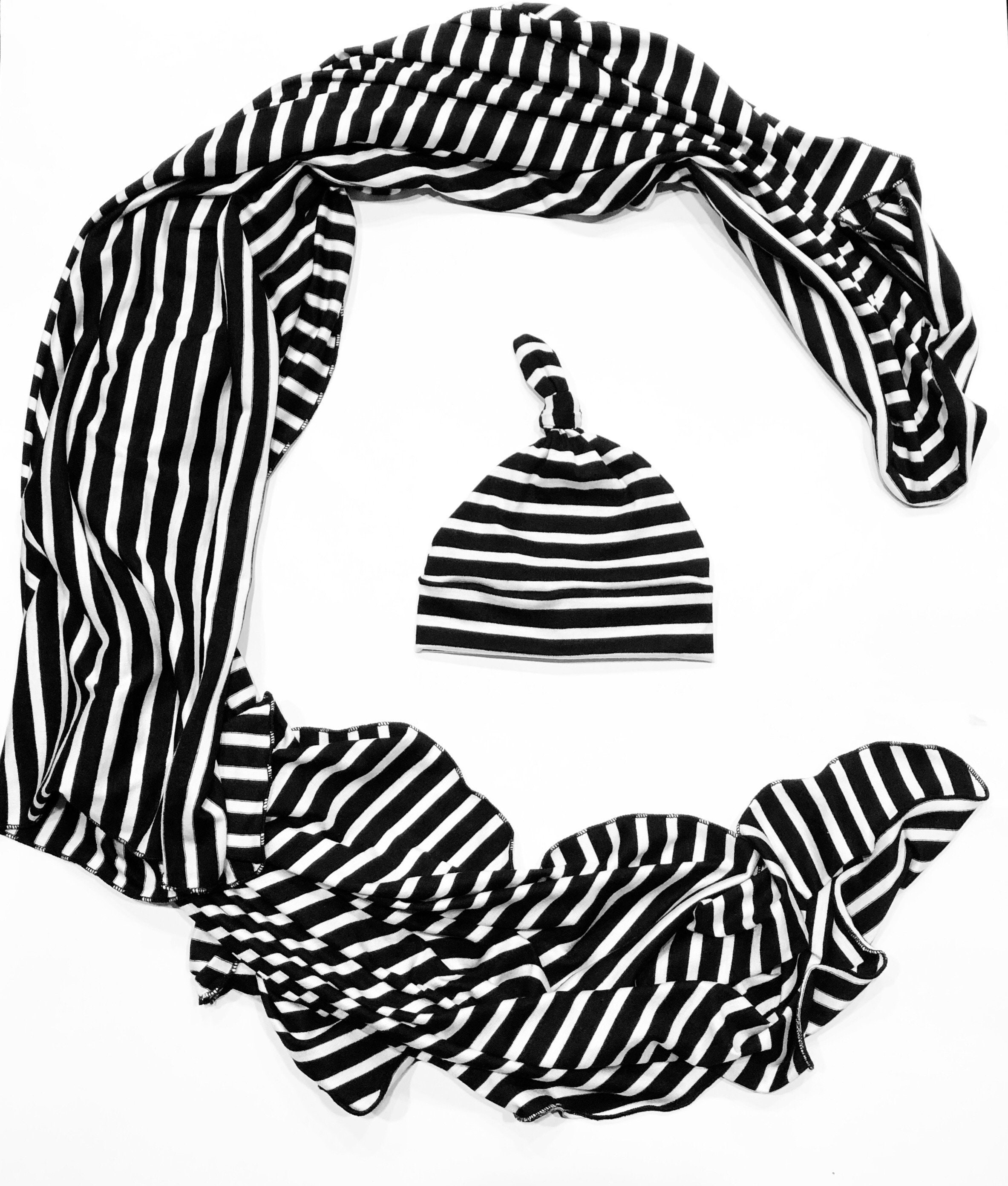 26640f625d01a Black / White Stripe Baby Swaddle and Hat Set - Baby Gift - Newborn Swaddle  and Knotted Hat - Newborn Gift - Baby Blanket