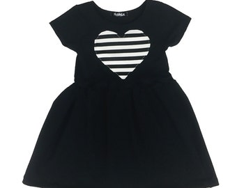 Toddler Dress - Baby Dress - Striped Heart Patch Dress - Girls Dress - Toddler Outfit - Baby Outfit - Baby Gift Idea - Toddler Clothes