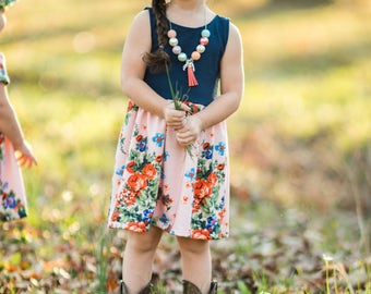 Pink Floral Navy Blue Spring Dress - Easter Dress -  Toddler Dress - Baby Dress - Girls Spring Dress - Toddler Easter Outfit - Baby Outfit