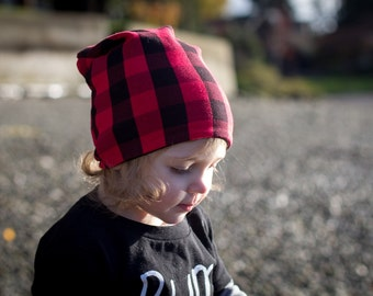 Red and Black Buffalo Plaid Beanie - Baby Beanie - Toddler Beanie - Baby Hat - Toddler Hat - Slouchy Beanie - Reversible Beanie - Baby Gift
