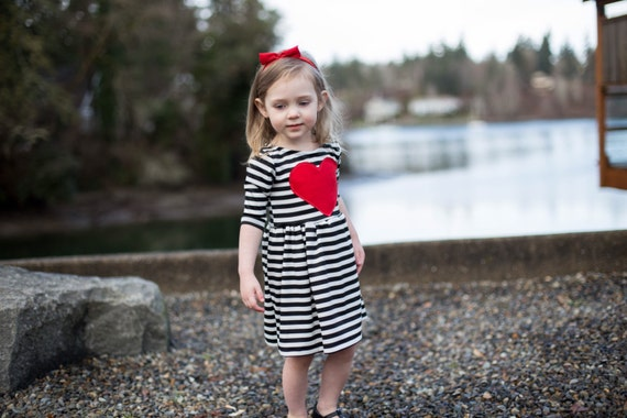 Red Heart Patch Dress Toddler Dress Baby Dress Girls Etsy