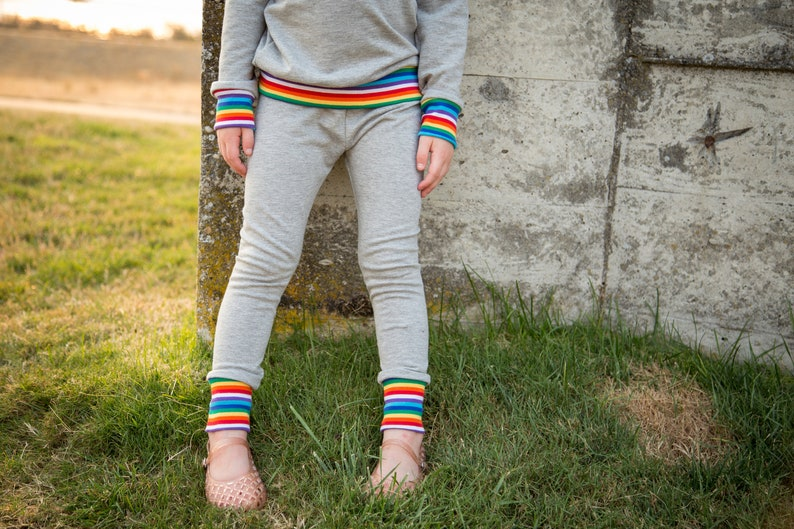 Grey  Rainbow Leggings or Joggers Baby Joggers Baby Leggings Baby Pants Kids Leggings Toddler Pants Baby Clothing