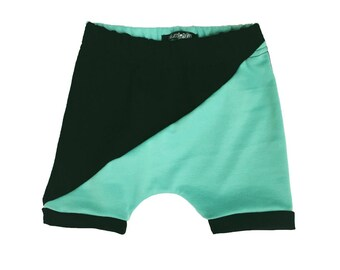 Black / Mint Harem Shorts or Pants  -  Baby Pants - Toddler Pants - Baby Shorts - Baby Clothing - Baby Clothes - Baby Boy Outfit