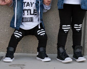 Heart Patch Leggings - Baby Leggings - Baby Joggers - Toddler leggings - Kis's Leggings - Baby Girl Leggings-   Baby Pants - Toddler Pants