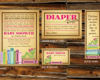 Book Worm Baby Shower Invitations & Party Materials - DIGITAL ARTWORK (Printable)