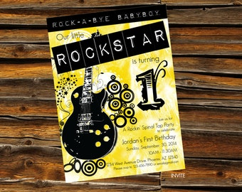 1st Birthday Baby Boy Rockstar Invitation - DIGITAL ARTWORK (Printable)