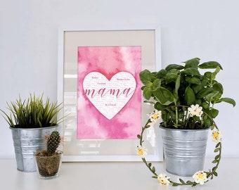 Mother's Day - Mom - Mama - Heart - Artwork - DIGITAL PRINT - 8x10 - Typography Artwork - Pink