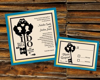 Key To My Heart Wedding Invitation & RSVP Card - DIGITAL ARTWORK (Printable)