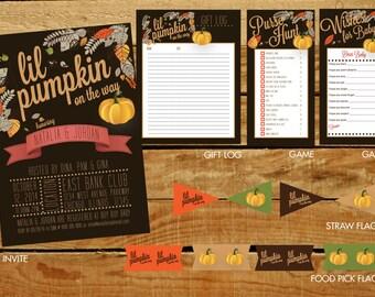 Fall Lil Pumpkin Baby Shower Invitation & Party Materials - DIGITAL ARTWORK (Printable)