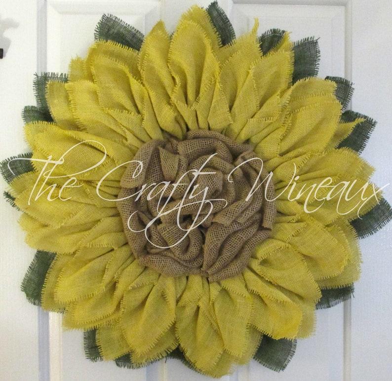 Spring Summer Burlap Flower Wreath Sunflower Door Hanger Free Shipping Extra Thick Light Violet Burlap Sunflower Wreath Burlap Wreath