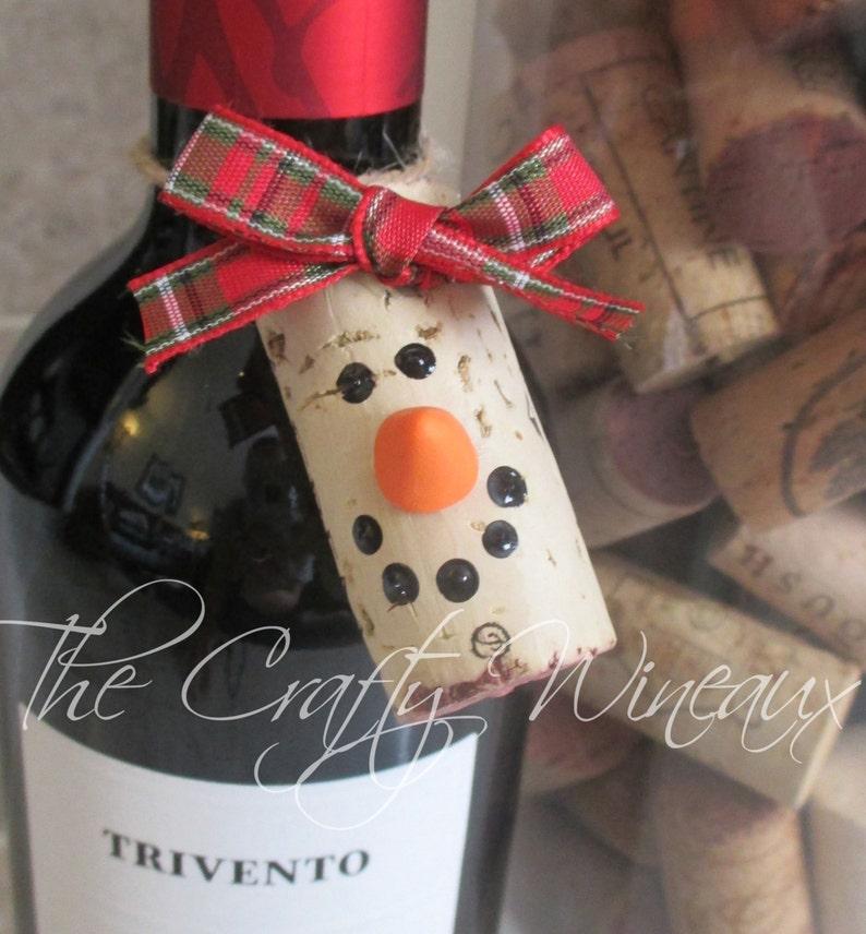 Lot of 10  Choose your color Wine Cork Snowman Christmas image 0