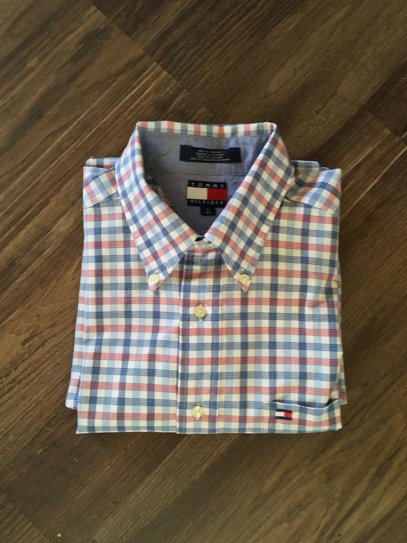 cd620ea6 Vintage Tommy Hilfiger Short Sleeve Striped Plaid Button Down | Etsy