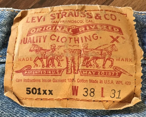 Vintage Levis 501 Button Fly Jeans Original Shrink To Fit 38 X
