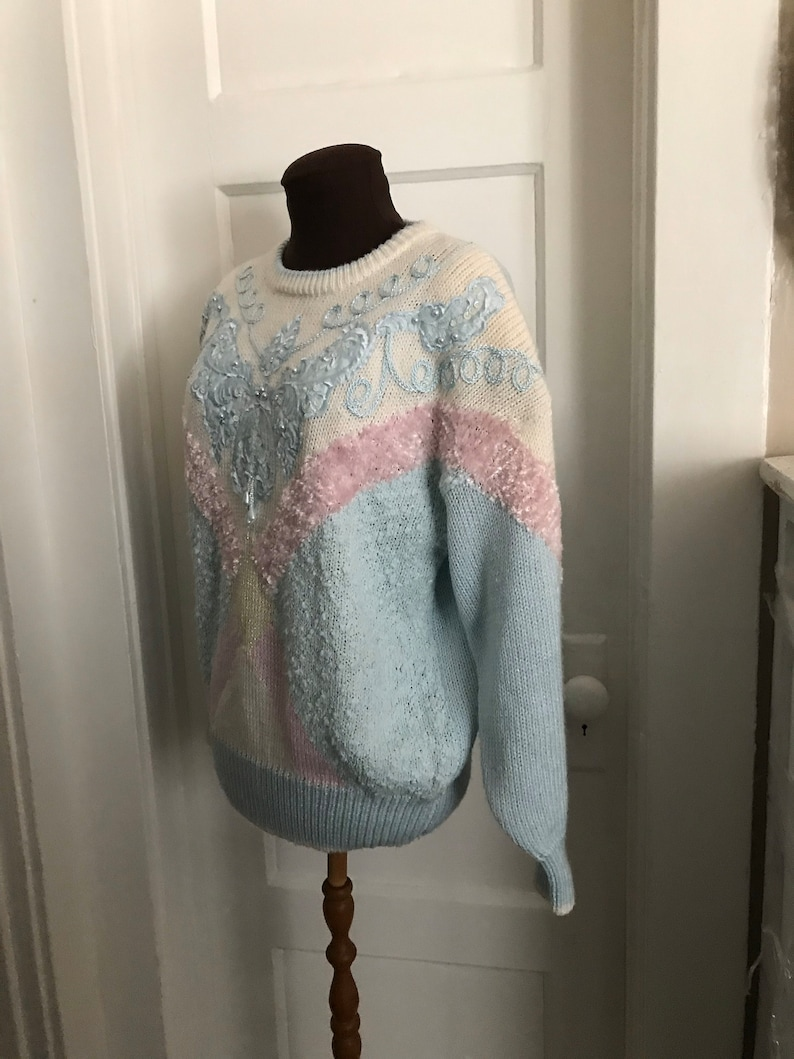 Fluffy Bedazzled Jaclyn Smith Oversized Sweater L Lurex /& Seed Pearls Ladies Size Large