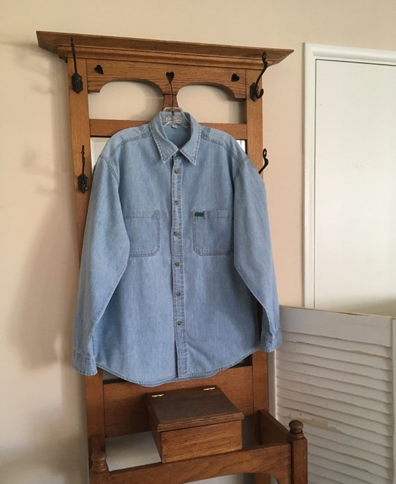 5794ec6b508a Vintage Men's Guess Long Sleeve Chambray Blue Button up   Etsy