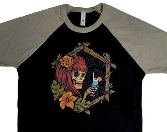 Vacation Skeleton Warm Grey & Black Raglan T-Shirt