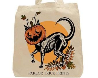Cat O'Lantern Cotton Tote Bag