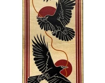 Three Crows Wood Print