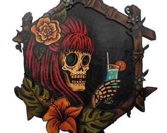 Vacation Skeleton Wood Plaque