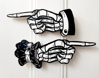 Victorian Skeleton Hand Wood Prints